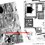 Location of Pit F. At left is an aerial photo from 1930, at right the location of the pit has been inserted into Woolley's map of Ur in the UrIII period (later than the Ubaid burial).
