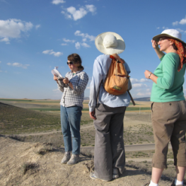 Jane, me, and Beth checking the view from Tumulus P. Photo by Carolyn Aslan.