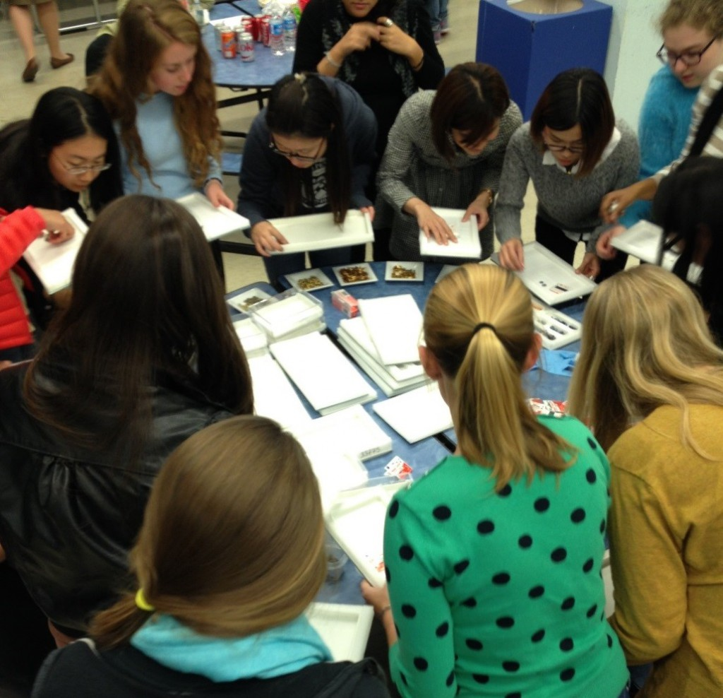 Students gather around to select their jewelry-making materials.