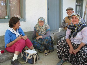 Ayşe interviewing at Hamidiye village
