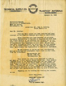 Letter from  Technical Supply Company to Corning, dated January 12, 1940.