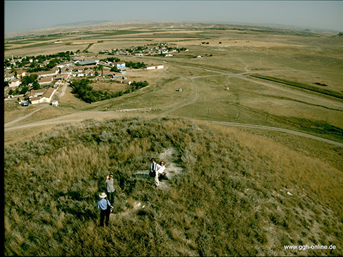 General view of Yassıhöyük village (YH) with Midas Mound; overview from Midas Mound looking sw