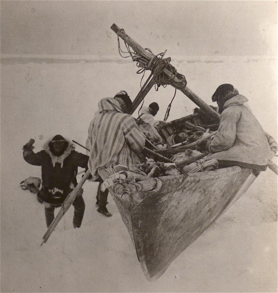 "Figure 5: ""Alaska Eskimo Launching an Umiak."" Photograph by Suzanne R. Bernhardi Jeffery, Alaska. 1905-7, Eskimos, Fishing, Folder 3 of 4. Courtesy of the University of Pennsylvania Museum Archives. Note the harpoon rest at the front of the umiak."