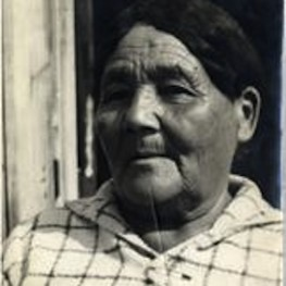 Fig. 4. Mackosi'kwe (Mrs. Michel Buckshot,. Photo taken by Frank Speck. Mss. Ms. Coll. 126, Image 1-2-b. American Philsophical Society Digital Collections.