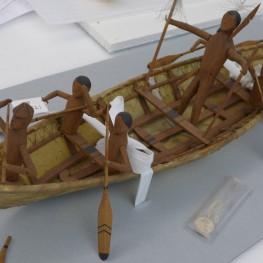 "Kuskokwim umiak identified as ""Happy Traveler Canoe."" Photo by Margaret Bruchac, with permission of Penn Museum. Museum Object Number NA1521."