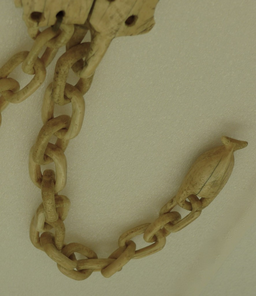 Figure 2: Harpoon rest chains and whale tails. Photo by Margaret Bruchac with permission from the Penn Museum..