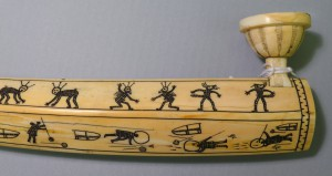 Close-up view of pictographs on the Eskimo (Iñupiaq) Tobacco pipe. Photo by Margaret Bruchac with permission of the Penn Museum.