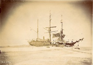 Frozen-in whaling ship. Photo by Captain David Henry Jarvis. Albumen print, catalogue # 2000.100.200.43. Photo Archives, New Bedford Whaling Museum, New Bedford, Massachusetts.