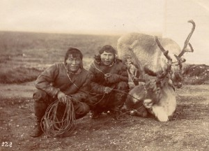 Inuit men with domesticated reindeer. Albumen print, catalogue # 2000.100.200.68. Photo Archives, New Bedford Whaling Museum, New Bedford,