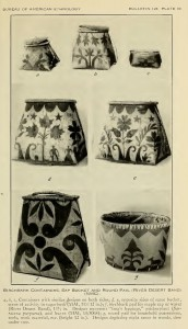 "A selection of trimmed and etched birchbark containers from River Desert collected by Frank Speck. Photograph is plate 30 from ""Art Processes in Birchbark of the River Desert Algonquin, a Circumboreal Trait,"" Smithsonian Institution Bureau of Ethnography Anthropological Papers 128, no. 17 (1941): 1-60."