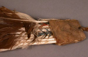 Detail of underside of peyote feather fan handle. Photo courtesy of the Penn Museum.