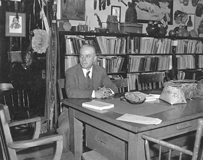 Frank Speck in his office in College Hall, University of Pennsylvania, c. 1930.