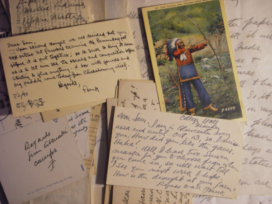 Postcards from Frank Speck to Samuel Pennypacker, in the Penn Museum Archives. Photo by Margaret Bruchac with permission of the Penn Museum.