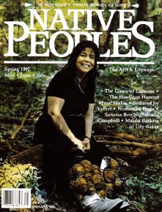 "Wilma Mankiller, former principal chief of the Cherokee Nation of Oklahoma, portrait for ""Native American and Hawaiian Women of Hope,"" by photographer Hulleah J. Tsinhnahjinnie (Seminole/Creek/Diné). Native Peoples Magazine, Spring 1997."