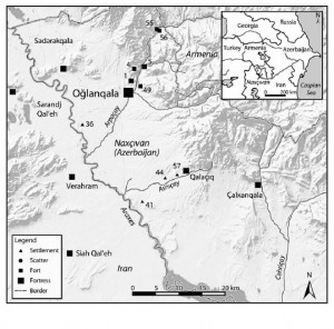 """Oglanqala and its surrounding areas.  The Araxes River separates Naxcivan from Iran.  (Taken from Ristvet et al. 2012.  """"On the Edge of Empire: 2008 and 2009 Excavations at Oglanqala, Azerbaijan.""""  American Journal of Archaeology.  Vol. 116, No. 2.)"""