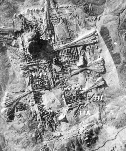 RAF aerial photo of Ur in May 1926 showing extensive Woolley excavations and TTC (though note there is another mystery trench to the west of the Temenos).