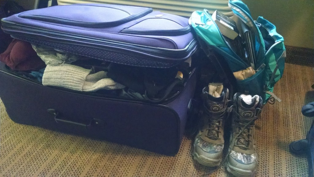 ONE of the two huge suitcases I am bringing. Also absent is the Total Station I'm in charge of!