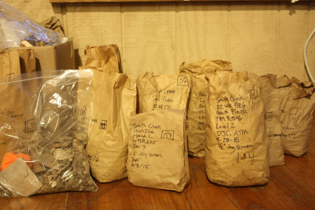 Just a few of the bags of artifacts that have been collected thus far.