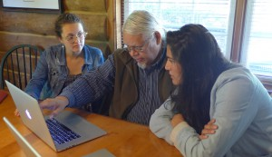 Penn students Sarah Parkinson (left) and Stephanie Mach (right) meet with Richard W. Hill Jr. (Tuscarora), Coordinator of the Indigenous Knowledge Centre at Six Nations Polytechnic, Ohsweken, Ontario.