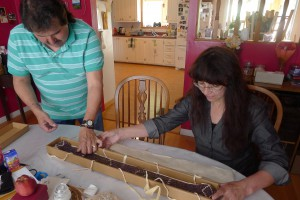 Chief Curtis Nelson (Mohawk) and Margaret Bruchac with wampum belt recently repatriated to Kanehsatake Oka Nation, Quebec.