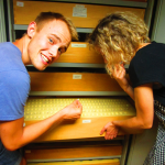 Paul marvels at the Neanderthal teeth from Krapina with Davorka Radovčić of the Croatian Natural History Museum.