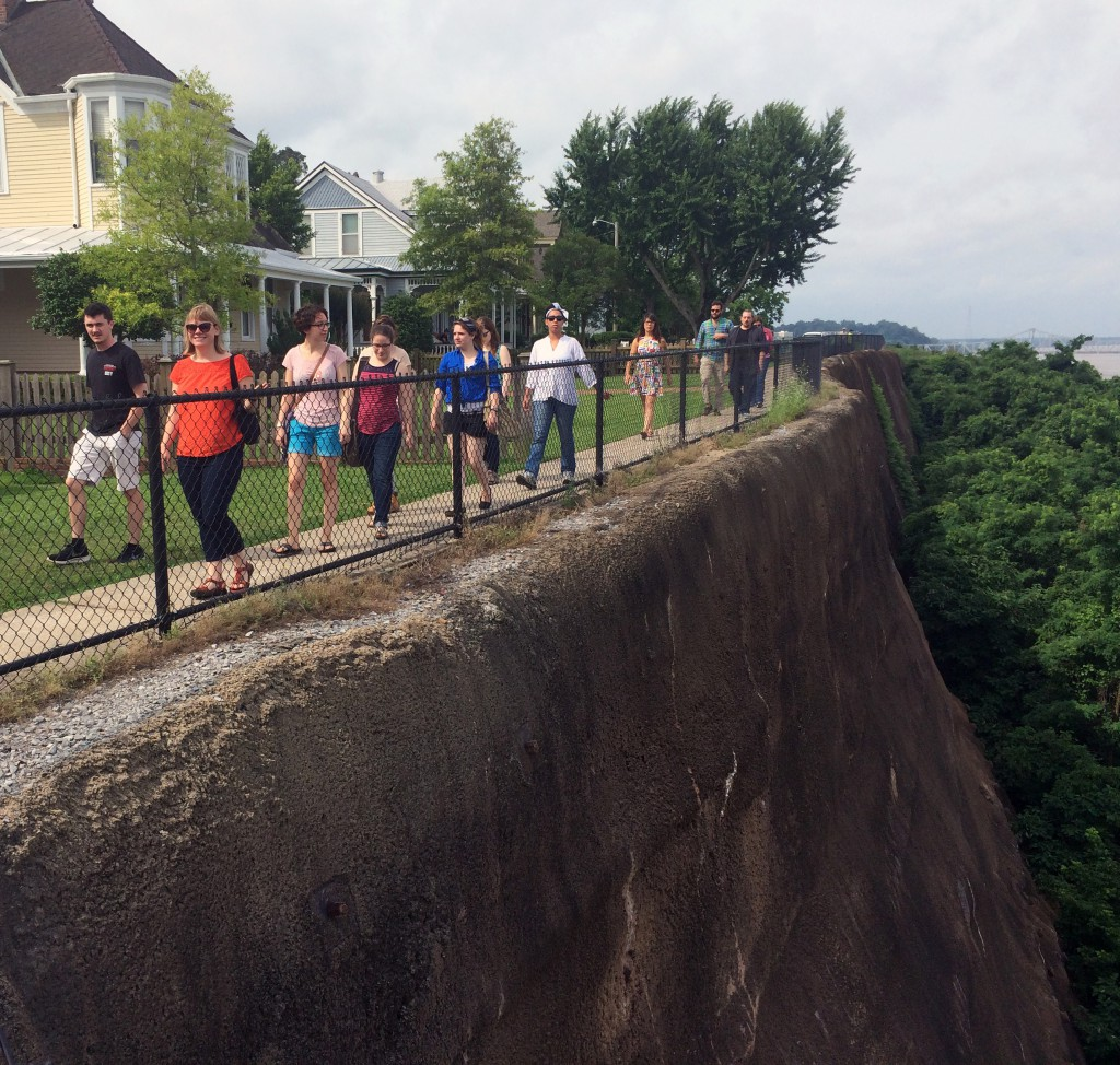 The team takes a stroll along the bluff. Photo by David Cranford.