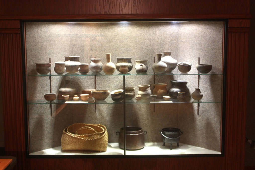 Tunica pottery and basketry inside the Tunica-Biloxi Indian Museum.
