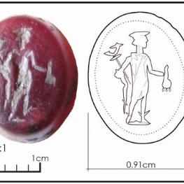The carnelian gemstone with a representation of Hermes (illustration by Sam Holzman).