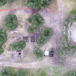 Aerial view of our excavation area. The round outline of the laconicum is visible on the left (photo by Matthew Brennan).