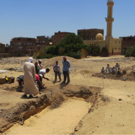 My kufti Ramadan, in the tan gellabiya, oversees the excavation of my unit in the areryt debris deposit. Excavation in Wah-sut usually involves removing the debris mounds from past excavations and the garbage that accumulates from the modern village of el-Araba.