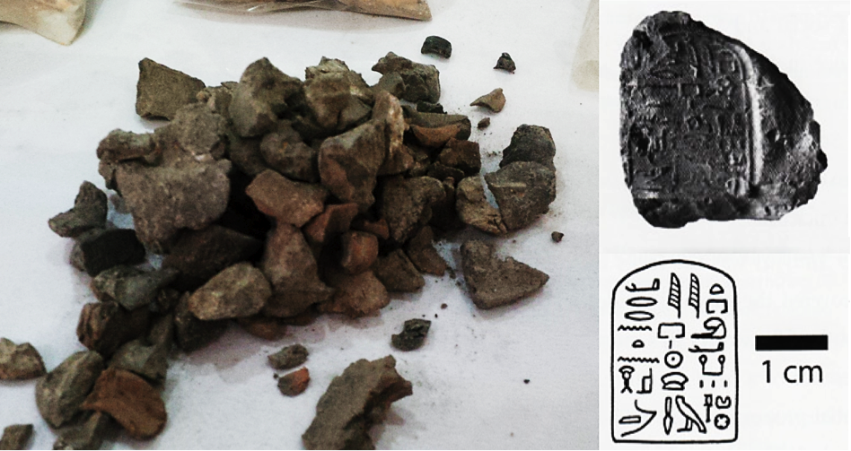 "Left: A pile of clay sealings from a single day of excavation, 169 sealings in total. Right: One of the typical areryt sealings found in many of the units within the debris deposit. (Areryt sealing photo from Josef Wegner, ""Echoes of Power."" Expedition Magazine 48 (2006): 32)"