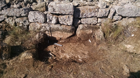 One of the small trenches we dug next to some of the still-standing walls of a qala.  Unfortunately, we hit bedrock before finding anything.