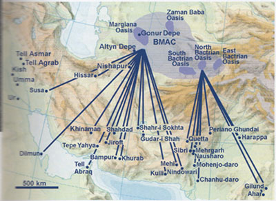 See Possehl 2007 in Expedition 49 Issue 1. Adapted from Figure 10.8 in Fredrik T. Hiebert. Origins of the Bronze Age Oasis Civilization in Central Asia. Cambridge, MA: Peabody Museum of Archaeology and Ethnology, Harvard University, 1994)