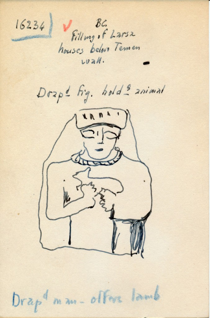 Sample note card from Legrain's research. The category for the figurine is in blue pencil at bottom.
