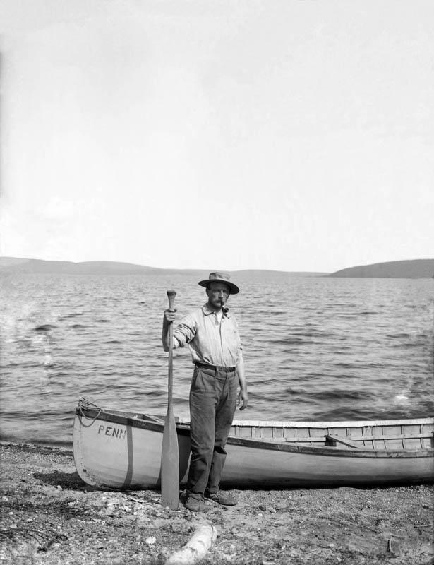 "Gordon and canoe ""Penn"" on Lake Minchumina, Alaska, 1907. Penn Museum image no 11820"