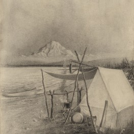 Mt. Denali from the North, Alaska, 1907.  From a sketch by G. B. Gordon from a point on the Kantishna just below the fork.  Charcoal drawing on board by M. Louise Baker, 1917.  Penn Museum image no 171578