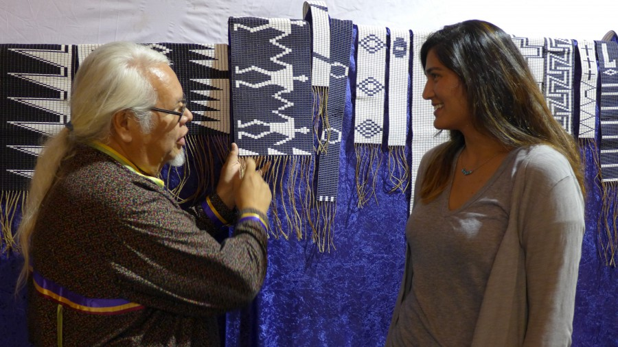 Richard W. Hill Sr. explaining wampum imagery to the author. Photo by Dr. Bruchac.