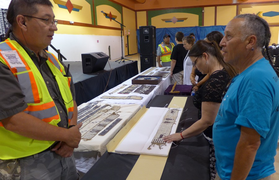 Attendees were able to touch historic wampum belts made by their ancestors. Photo by Dr. Bruchac.