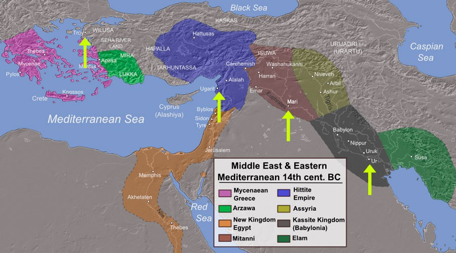 """14 century BC Eastern"" by Alexikoua, - Own work, data taken from: History Year by Year, Dorling Kindersley Ltd, 2011, pages: 32-33, ISBN 1405391057, 9781405391054. Topography taken from DEMIS Mapserver, which are public domain, other wise self-made.. Licensed under CC BY-SA 3.0 via Commons - https://commons.wikimedia.org/wiki/File:14_century_BC_Eastern.png#/media/File:14_century_BC_Eastern.png"
