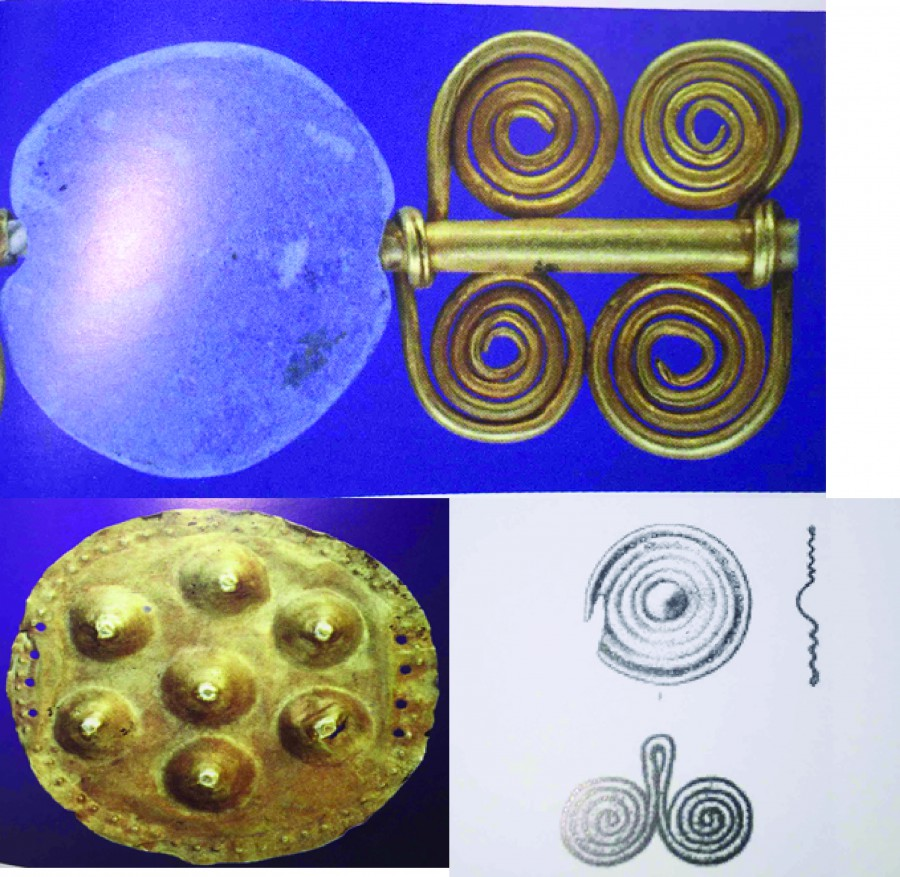 Top: Mari spiral bead (Nicolini 2010 Pl.483), Bottom Left: Mari Ornament (Nicolini 2010 Fig.18) Bottom Right: Illustrations of two spiraled ornaments (Nicolini 2010 pl. 524)
