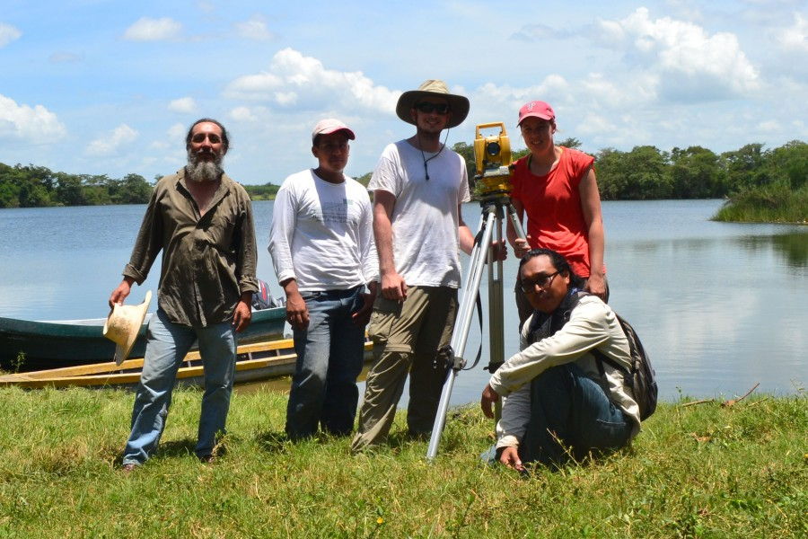 "2015 mappers from left to right: Walter Ochoa, Rene Aguilar, Joshua Freedline, our total station ""Camille,"" Joanne Baron, and Jose Subuyuj below. Photo by José Subuyuj."