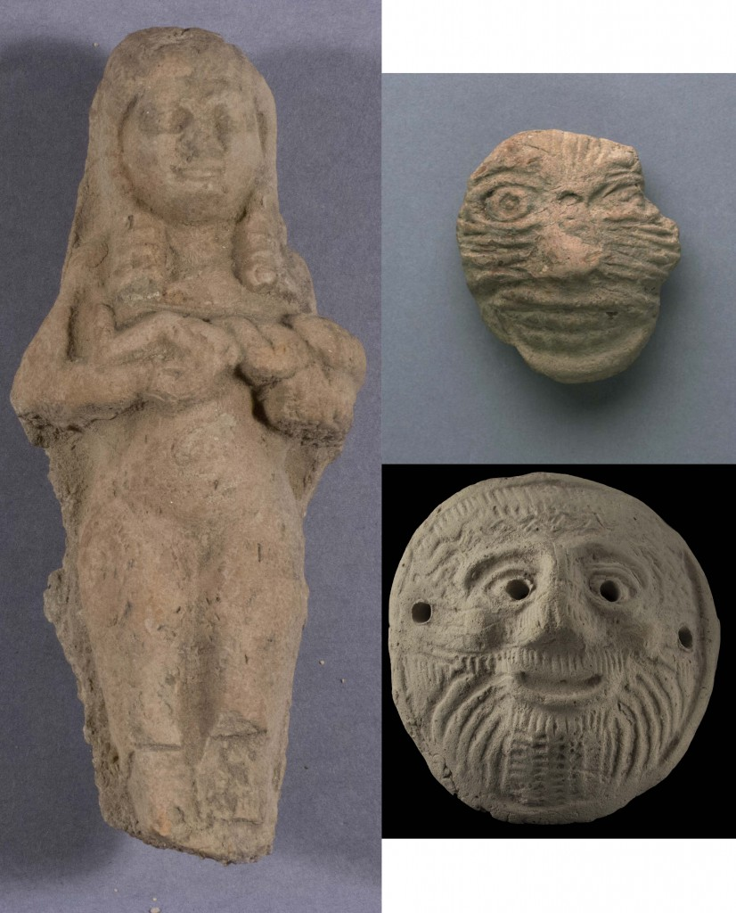 Left: Penn Museum Number 32-40-29 (U.17820) showing a woman nursing a child, Top: Penn Museum Number B5695 (U.1211) a Pazuzu amulet or mask, and Bottom: British Museum Number 1924,0920.95 (U.1753) a Pazuzu amulet or mask.