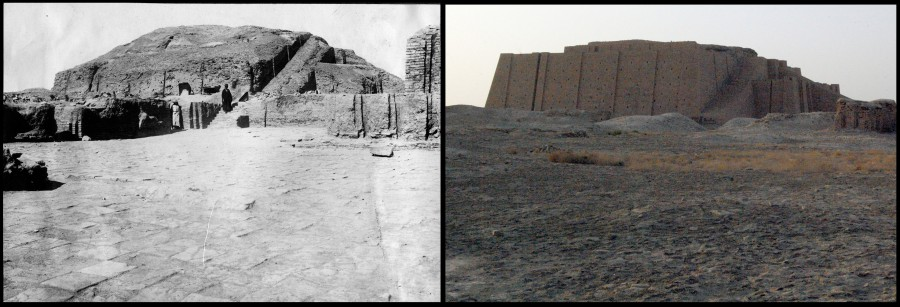 Field Photo 454 (left) and modern equivalent (right) showing the Ziggurat at Urfrom the south-southeast