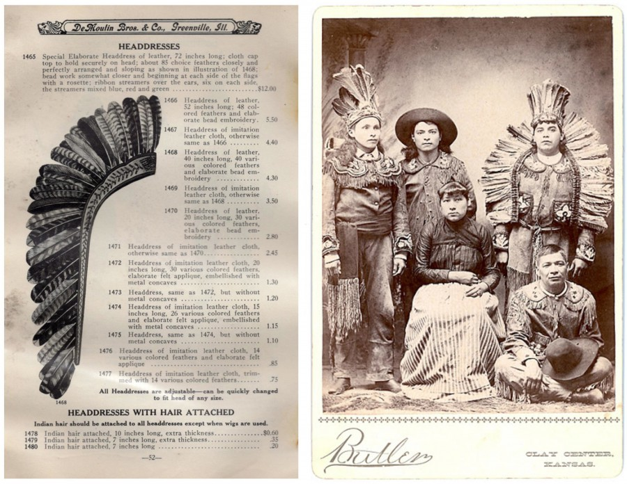 "(left) Turkey feather headdress offered for sale in the DeMoulin Catalogue, circa 1900, matching the style of the ""Eastern War Bonnet"" in the Penn Museum. (right) Cabinet card showing a group of Haudenosaunee (Iroquois) medicine show entertainers. Period inscription on the back of the card reads: ""Caughnawaga [Mohawk] Indians with the Kickapoo Medicine Company. Season 1891. R.W. Telford, Manager."" Photos courtesy of Gerry Biron. Private collection."