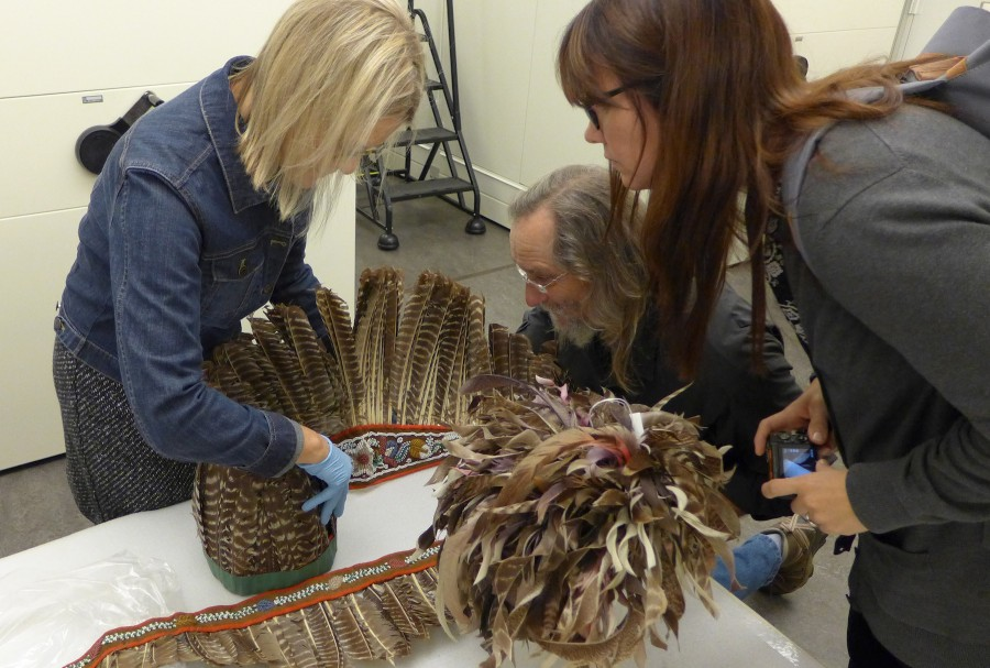 Examining headdress styles at the Penn Museum. In the center is a Haudenosaunee gustoweh, topped with curling partridge and hawk feathers.