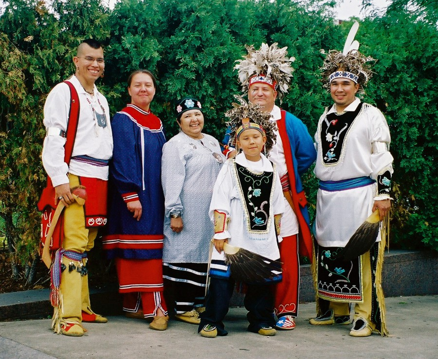 Thunderhawk Dancers from the Kahnawake Mohawk nation in Quebec, at the First Nations Festival in Montreal, 2003. Photo by Margaret Bruchac.