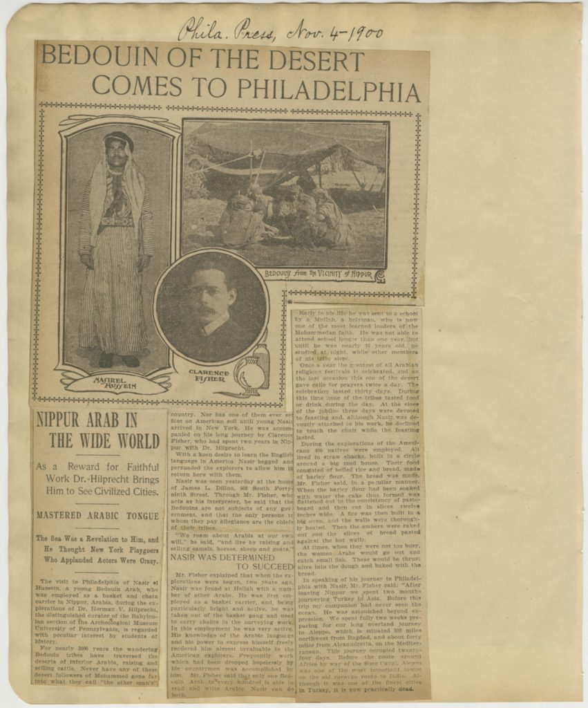 """Bedouin of the Desert Comes to Philadelphia."" Philadelphia Press, November 4, 1900."