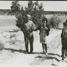 Maxine and Mary Jane Tsosie with their Grandfather Sam Yazzie