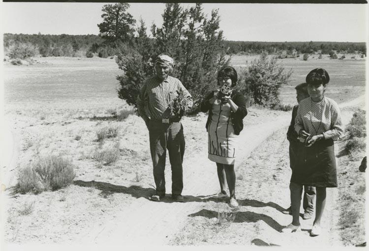 Maxine and Mary Jane Tsosie with their Grandfather Sam Yazzie