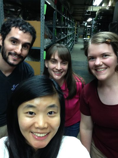 Clockwise from top left: Daniel LoMastro, Ashley Scott, Laura Hazeltine, and Yin Liu in the sub-basement, 2015. Ashley completed her MA in Egyptology at Penn and is now working with the Egyptian Section on collections storage renovation. Yin is currently pursuing an MA in Museum Anthropology at Columbia University.
